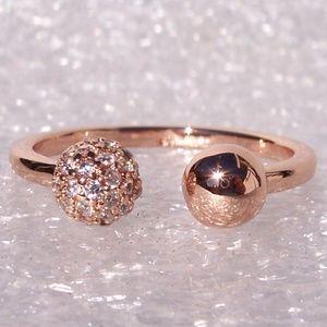 Pandora ROSE Polished & Pave Bead Open Ring CZ